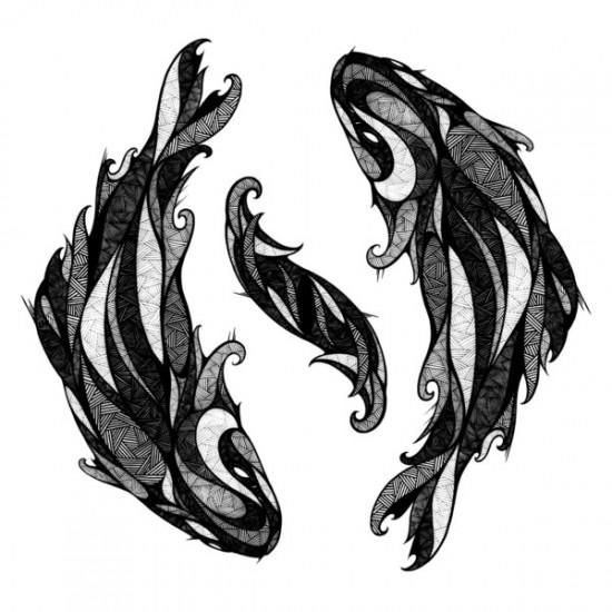 dessin de deux poissons en astrologie